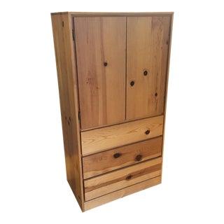 Pine Wood Three-Drawer Armoire