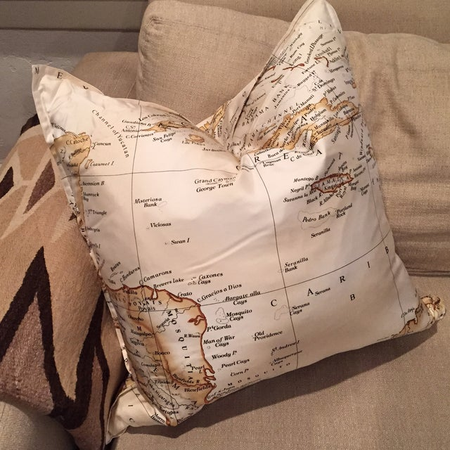 Williams-Sonoma Silk Map Pillow Cover - Image 2 of 5