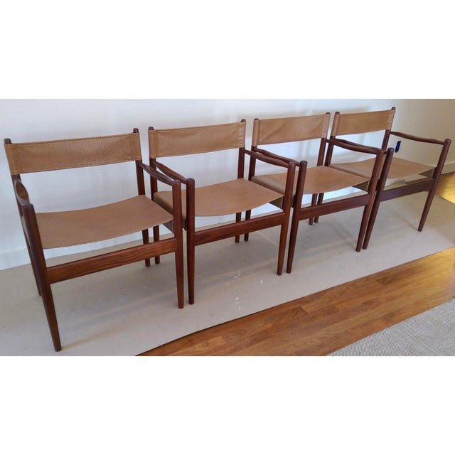 Arne Norell-Style Safari Sling Rosewood Chairs - Set of 4 - Image 4 of 8