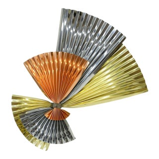 Vintage Mid-Century Modern Curtis Jere Tri-Color Fan Wall Sculpture