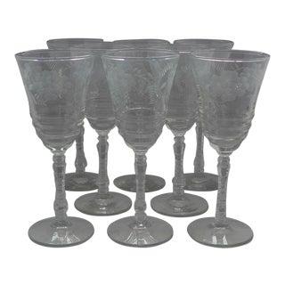 """Vintage Etched """"Libbey"""" Wine Glasses - Set of 8"""
