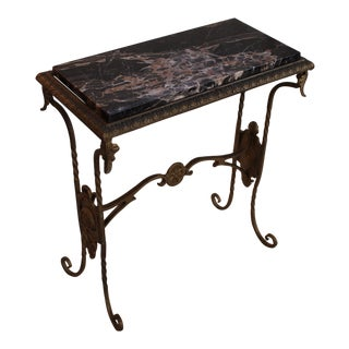 Vintage Marble Top Gilt-Metal Console Table