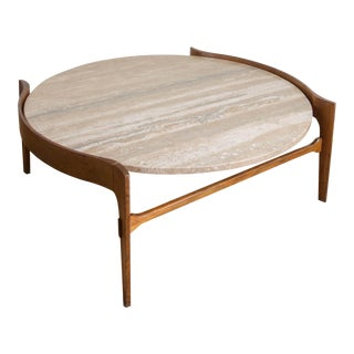 Bertha Schaefer Travertine & Walnut Coffee Table