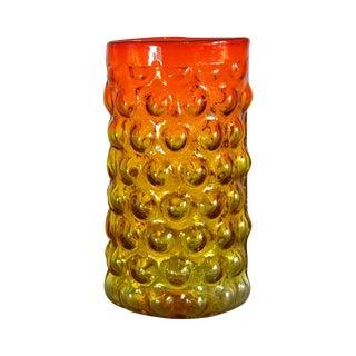 Mid-Century Blenko Tangerine Bubble Wrap Vase