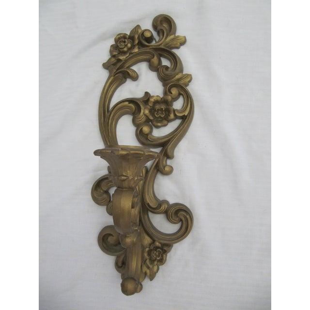 Homoco Gold Candle Sconces - Set of 3 - Image 5 of 6