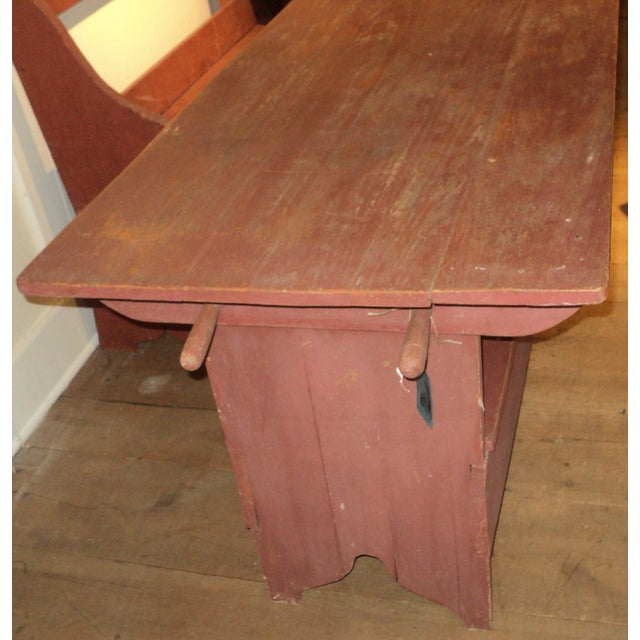Image of Antique Primitive Red Painted Harvest Farm Table