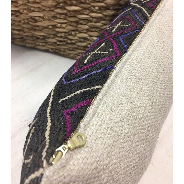 African Kuba Cloth Lumbar Pillow - Image 6 of 8