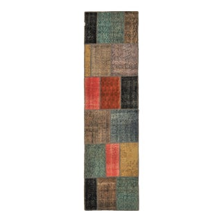 "Turkish Over-Dyed Patchwork Runner Rug - 2'7"" X 9'10"""