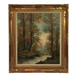 Vintage Framed Fall Landscape Oil Painting