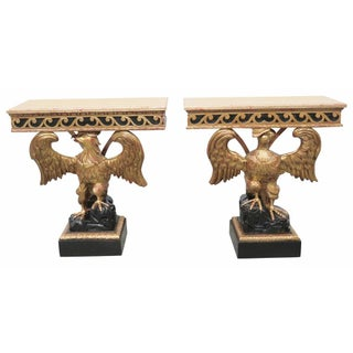 Georgian Style Gilt Carved Eagle Consoles - a Pair