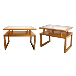 Pair of American 1950s Maple-Wood Rectangular End, Side Tables, Glass Tops