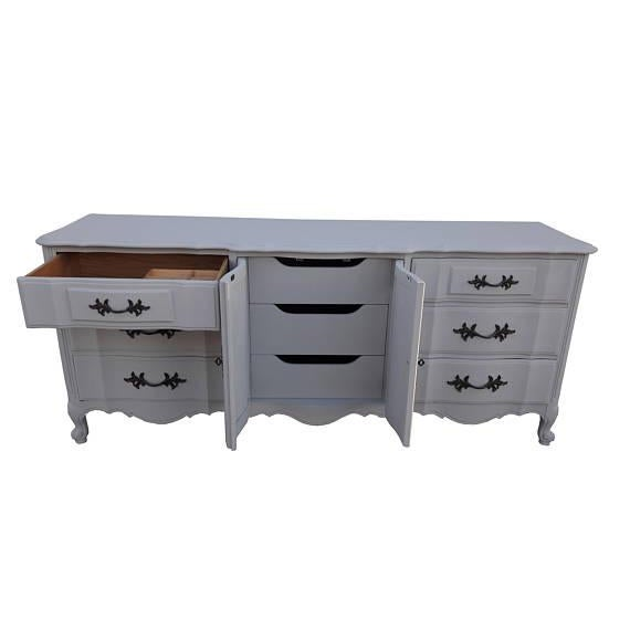 French Provincial Farmhouse Style Gray Lowboy Sideboard - Image 2 of 8