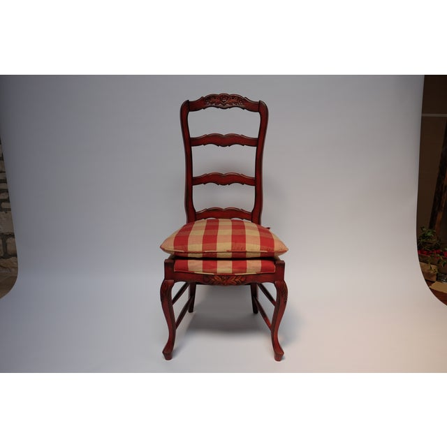 Set Of 4 Country Cream Dining Chairs: French Country Red Check Dining Chairs - Set Of 6