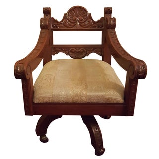 Renaissance Revival Style Carved Walnut Desk Chair