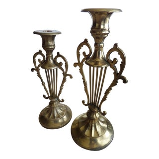Solid BrassMusical Harp Design Candle Holders - A Pair