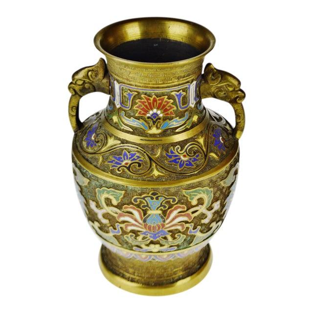 Vintage Japanese Brass Champleve Urn Shaped Vase with Figural Handles - Image 1 of 11