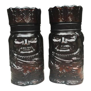 Glass Indian Chief Humidors - A Pair
