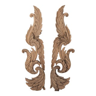 Pair Large French Carved Architectural Pieces