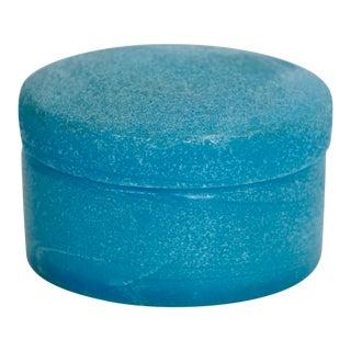 Textured Blue Opaline Glass Lidded Box