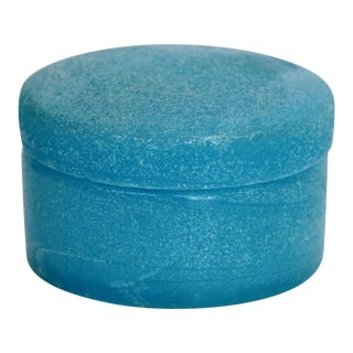 Textured Blue Opaline Glass Lidded Box