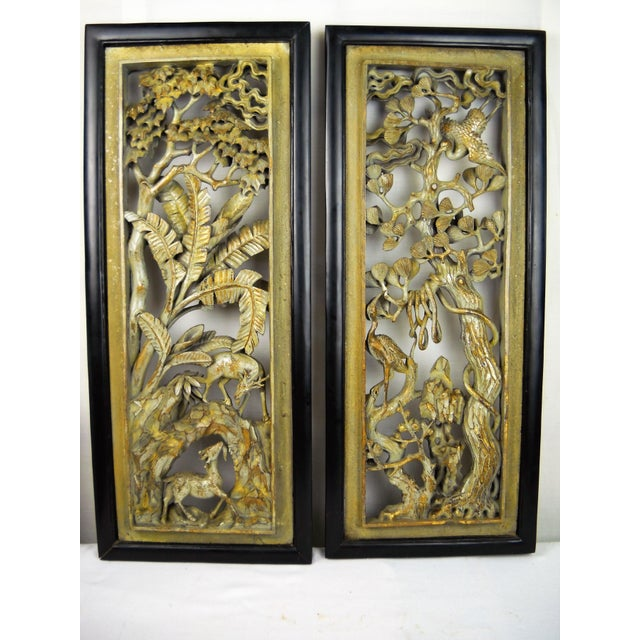 Asian Carved Wood Panels - A Pair - Image 3 of 8