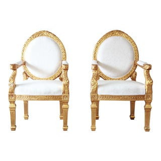 French Empire Style Giltwood Armchairs, A Pair