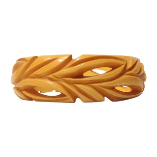 Carved Butterscotch Bakelite Bangle