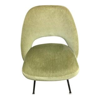 Original Mid-Century Eero Saarinen Green Velvet Side Chair