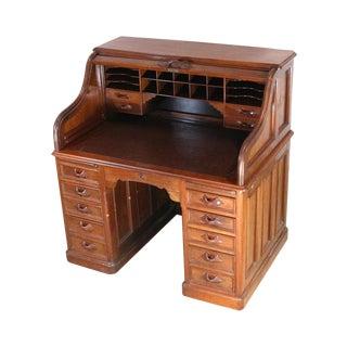 1850s Antique Walnut Bankers Desk
