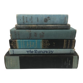 Collection of Vintage & Antique Books in Blue - Set of 6