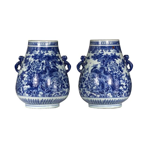 Large Blue & White Phoenix Jars - Pair - Image 1 of 4