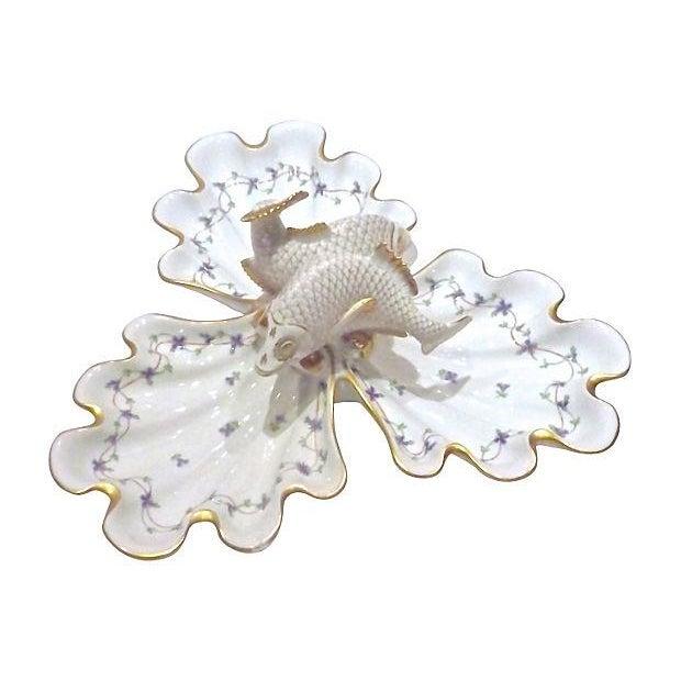 Vintage Herend Porcelain Fish & Shell Serving Tray - Image 2 of 9