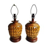 Image of Mid-Century Bohemian Glam Woven Reed Lamps - Pair