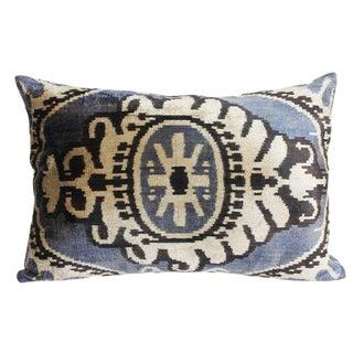 Mineral Blue and Graphite Silk Velvet Pillow