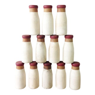 Vintage Wooden Carnival Milk Bottles - Set of 12