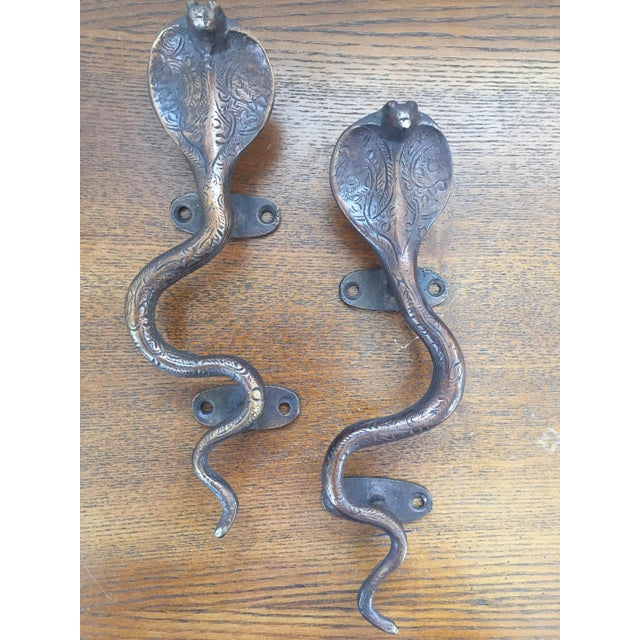 Image of Brass Cobra Cabinet Pulls/Door Handles - A Pair