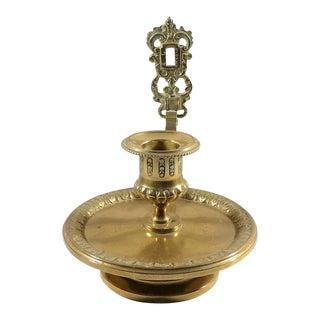 Antique European Brass Chamber Stick Candlestick