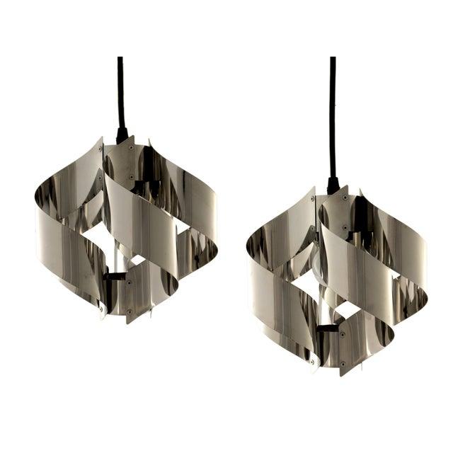 Image of Mid Century Stainless Steel Pendants - Pair