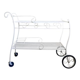 White Wrought Iron Patio Cart