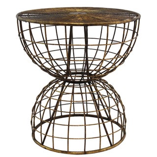 Aged Brass Wire Occasional Side Tables - A Pair