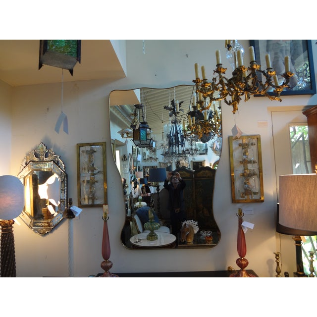 Italian Gio Ponti Inspired Brass Mirror - Image 5 of 7