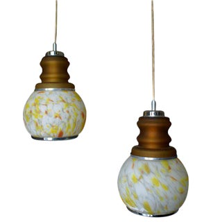 Mid-Century Modern Hanging Pendant Glass Lights - A Pair