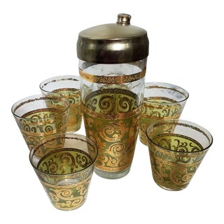 Gold & Green Mid-Century Cocktail Shaker & Glasses - Set of 7