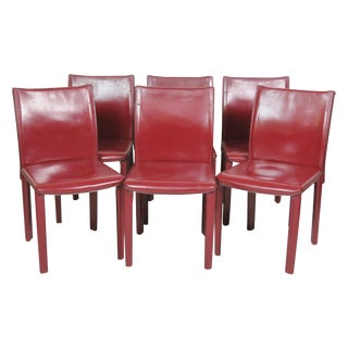 Casillas Red Leather Side Chairs - Set of 6