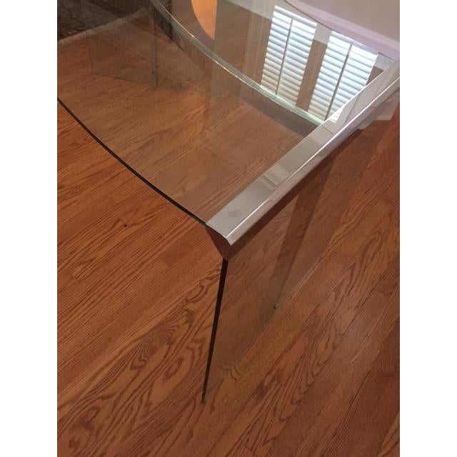 DIA Curved Glass & Chromed Steel Writing Desk - Image 4 of 10