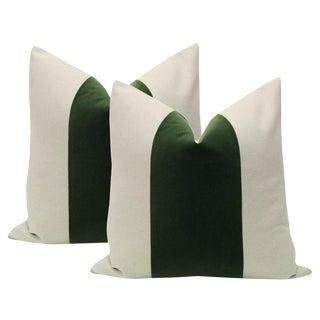 """22"""" Fern Green Velvet Panel and Linen Pillows - a Pair"""
