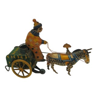 Antique 1920's Tin Toy Clown with Cart