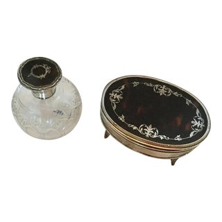 Sterling Silver and Tortoise Shell Perfume Bottle and Box