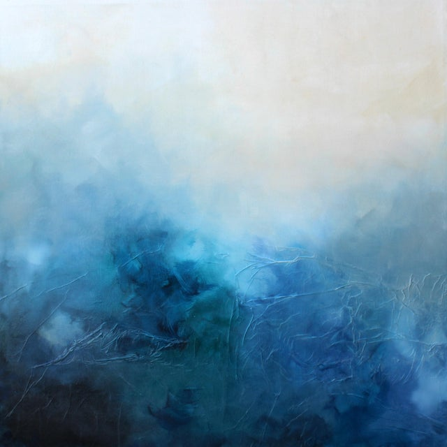 'Blue Bliss' Abstract Mixed Media Painting - Image 1 of 2