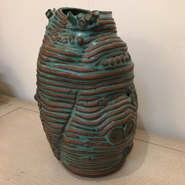 Turquoise Coiled Ceramic Vase - Image 3 of 9